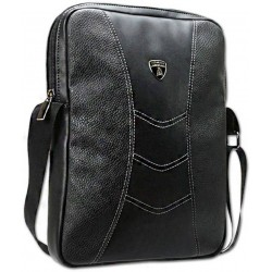 Lamborghini Casual Black Genuine Leather Sling Bag