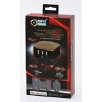 TURTLE Universal Travel charger (UK/US/EU) with 3 USB Ports